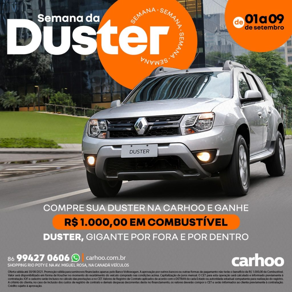 Semana da Duster na Carhoo: compre e ganhe na hora um vale de R$ 1.000,00! Saiba mais
